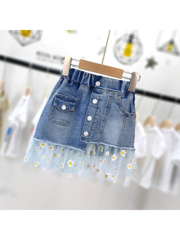 【3Y-13Y】Girls Daisy Mesh Skirt Stitching Denim Skirt