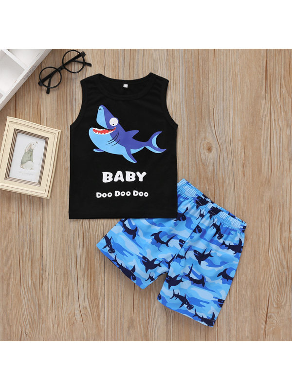 【12M-5Y】Boy's Cartoon Print Sleeveless Tank Top And Shorts Two-piece Suit