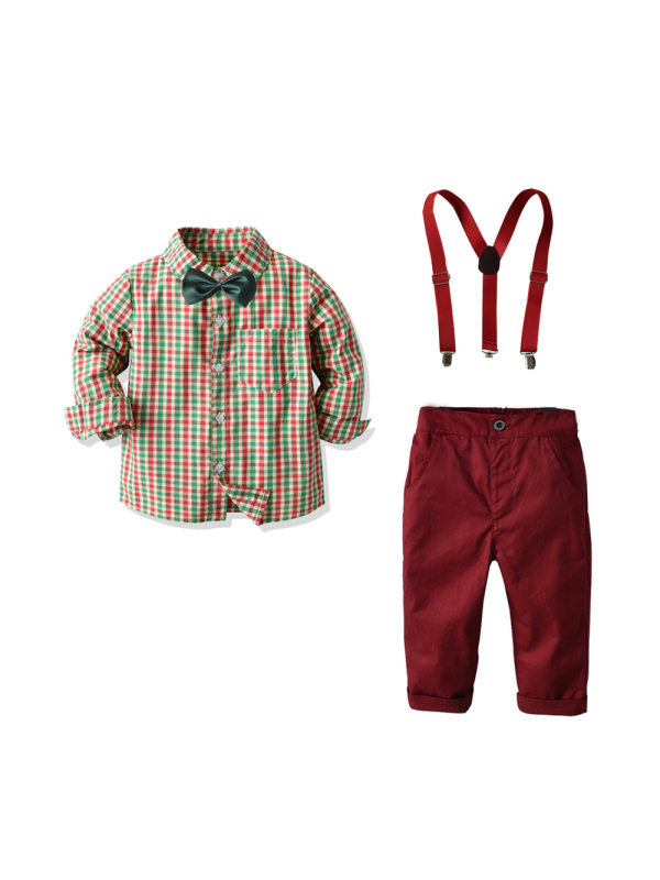 【12M-7Y】Boys' Plaid Shirt Overalls Gentleman Outfit