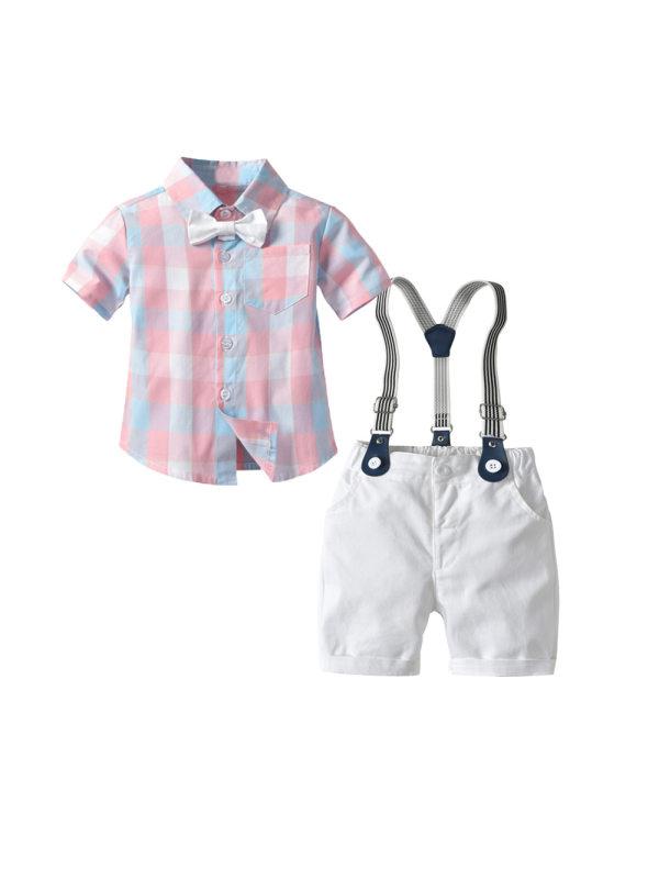 【12M-4Y】Boys' Gentleman Short-sleeved Plaid Shirt Bib Suit