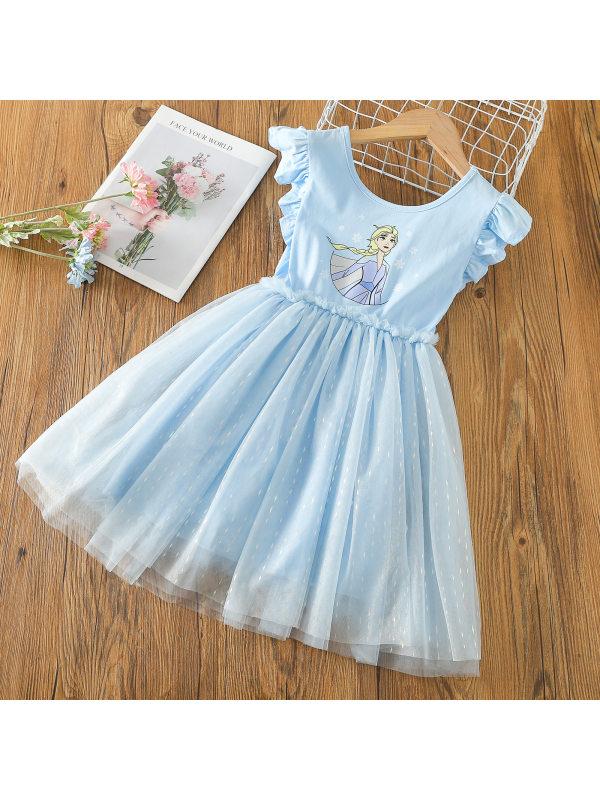 【2Y-9Y】Girls Summer Mesh Stitching Dress