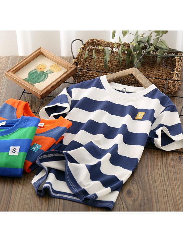 【3Y-13Y】Boys Short Sleeve Striped T-shirt