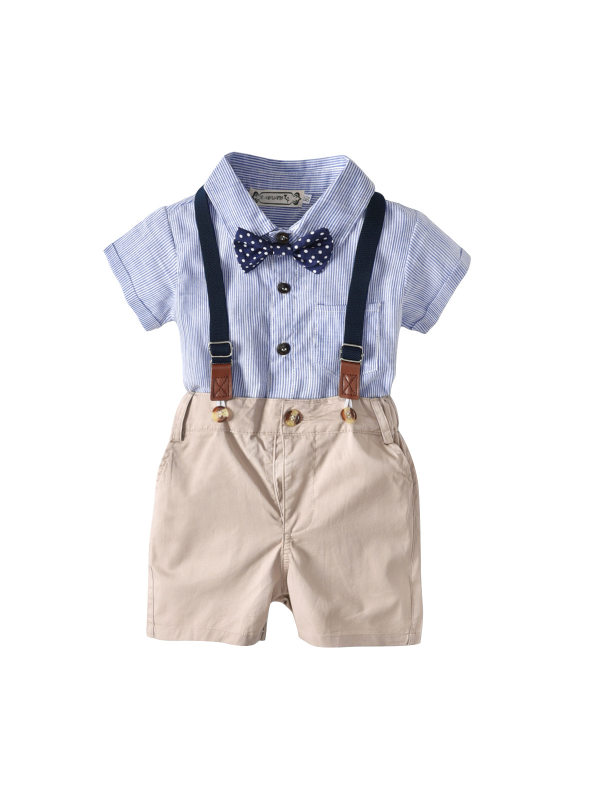 【6M-2.5Y】Boys' Striped Romper Suspenders And Bow Tie Gentleman Three-piece Suit