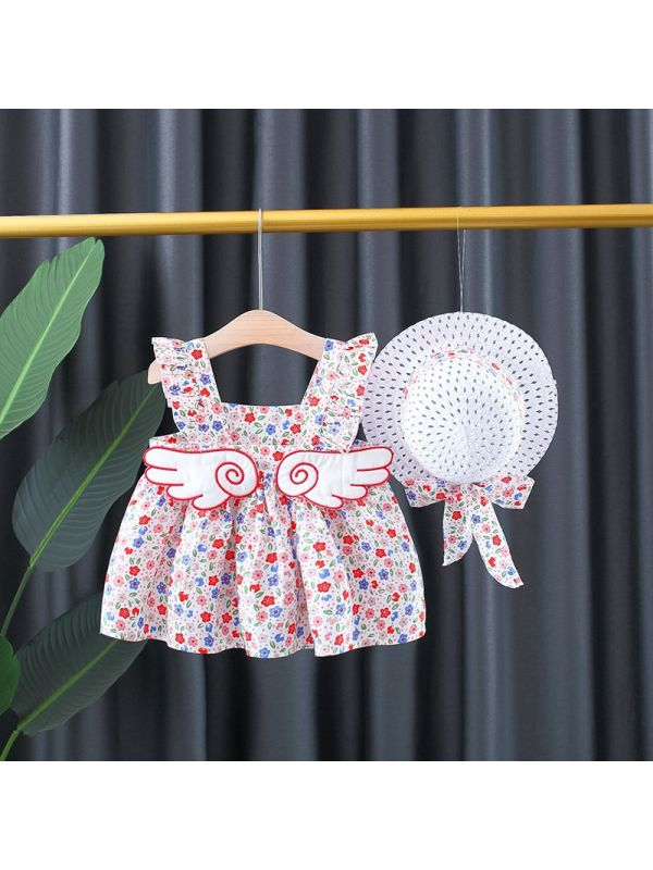 【12M-4Y】Girls' Back Big Wings Floral Skirt with Hat