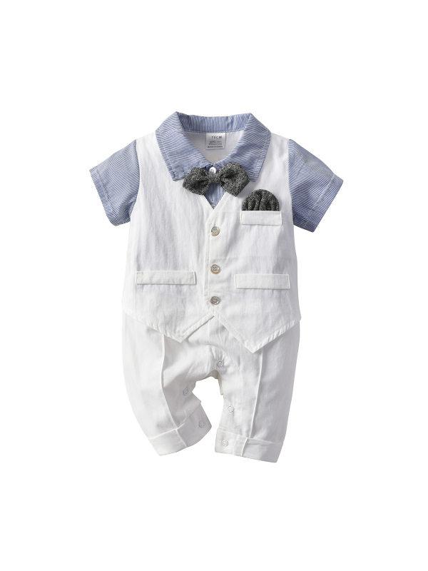 【3M-24M】Boys' Fake Two-piece Romper Bow Tie Gentleman Romper Suit