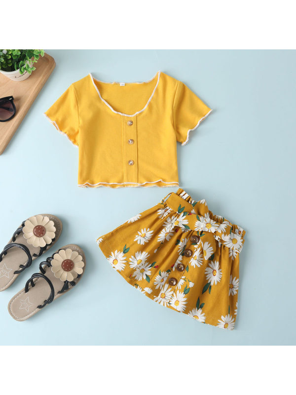 【6M-4Y】Girls' Shorts And Tops Printed Short Skirt Two-piece Suit
