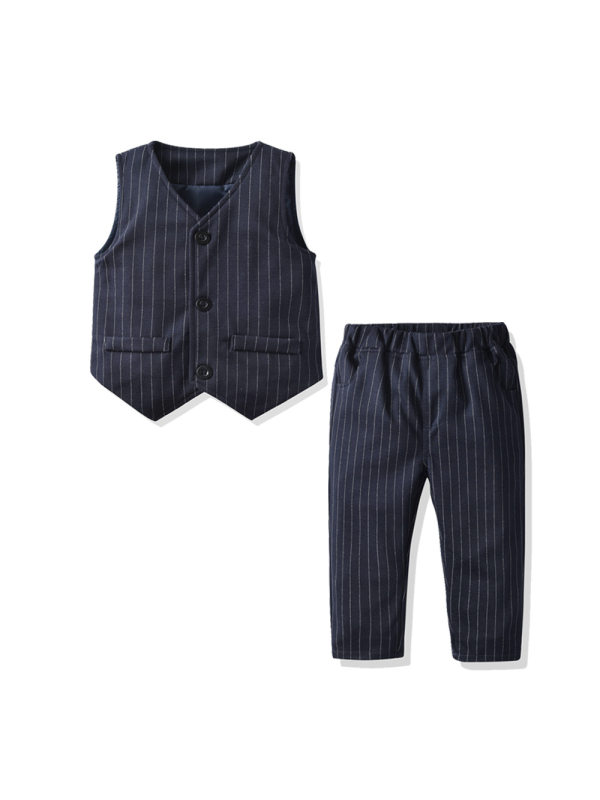 【12M-7Y】Boys' Striped Gentleman Vest Woven Trousers Suit
