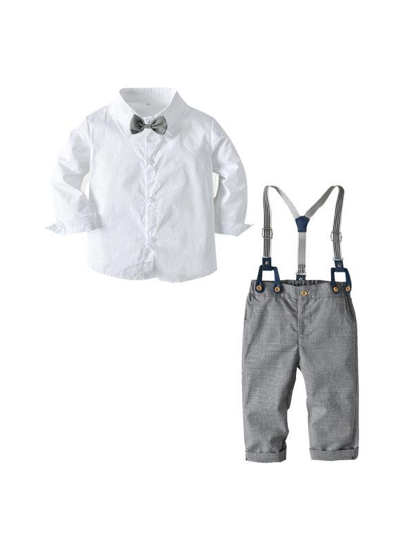 【12M-4Y】Boys' Bow Tie Shirt Plaid Bib Dress
