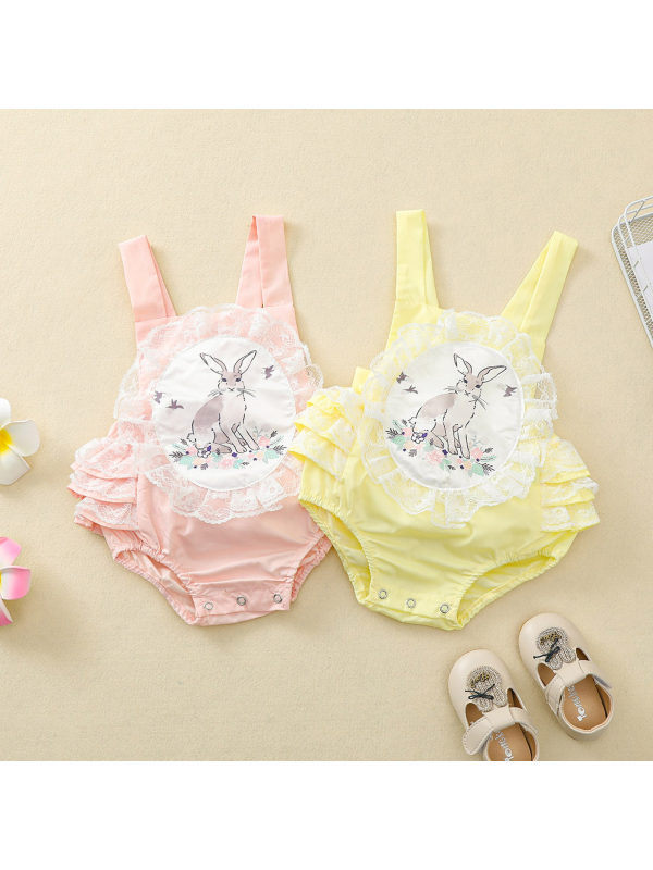【6M-3Y】Baby Girls Sweet Rabbit Print Lace Suspender Romper