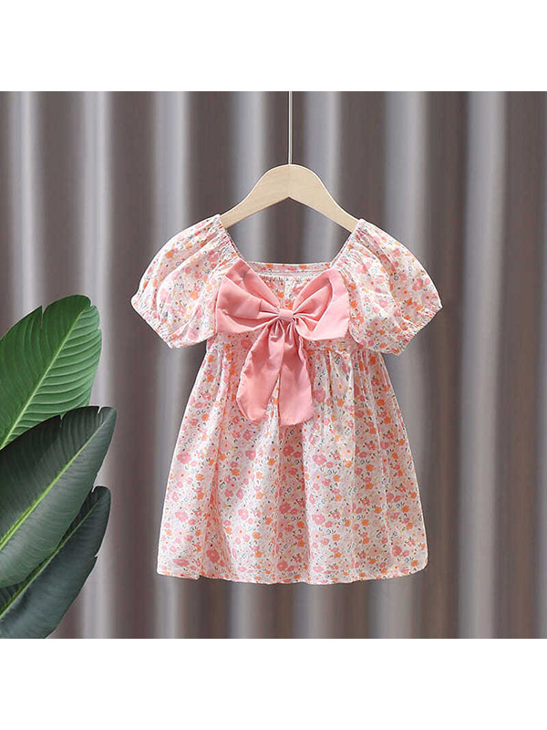 【18M-9Y】Girls Floral Puff Sleeve Bowknot Dress
