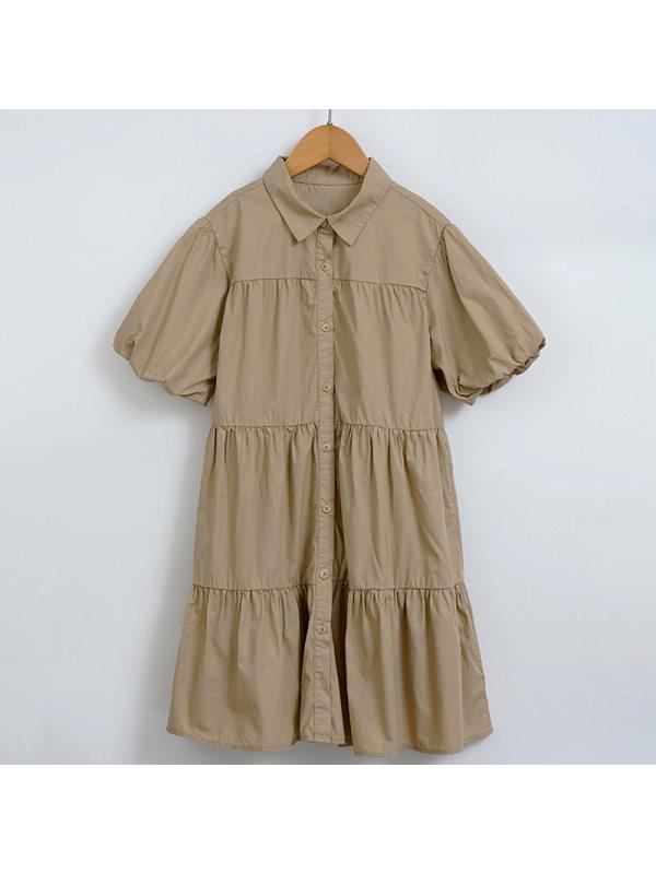 【4Y-13Y】Big Girl Forest Puff Sleeve Cake Dress