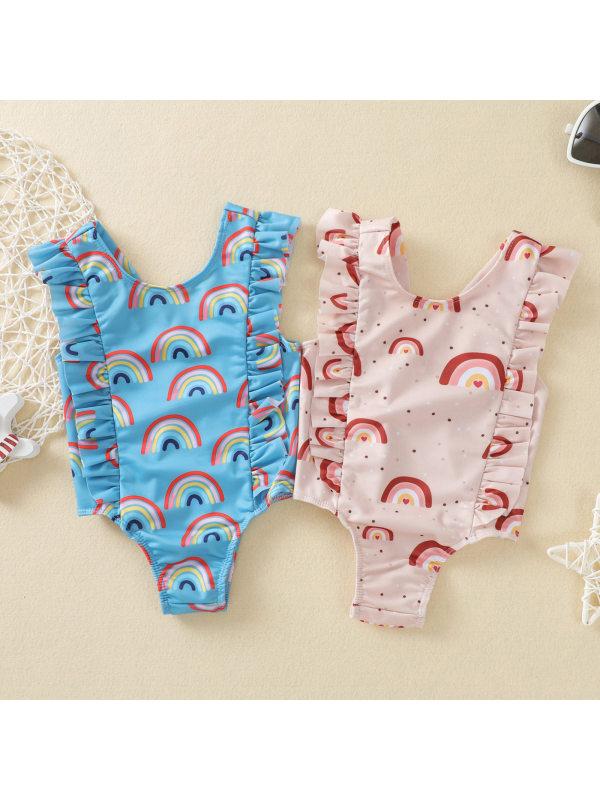 【6M-4Y】Girls Sweet Cute Rainbow Print Ruffled One-piece Swimsuit