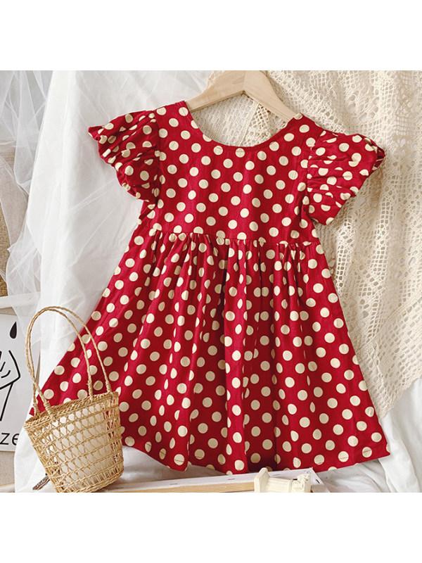 【18M-7Y】Sweet Polka Dot Print Red Dress