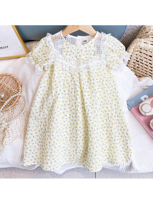 【2Y-9Y】Sweet Yellow Flower Print Dress