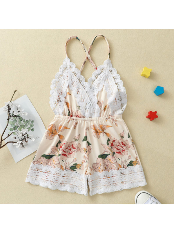【18M-7Y】Sweet Lace and Flower Print Jumpsuit