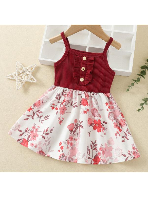 【12M-5Y】Sweet Flower Print Sling Dress