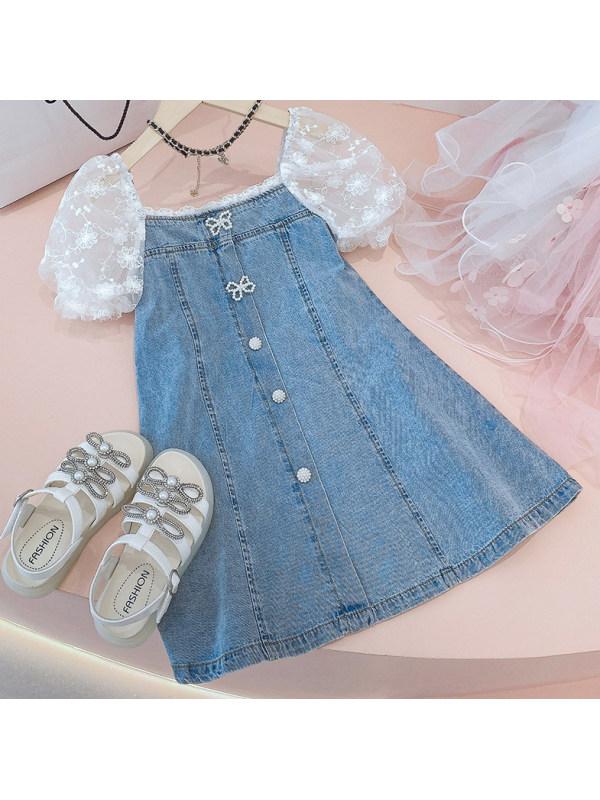 【2Y-11Y】Sweet Lace Puff Sleeve Denim Dress