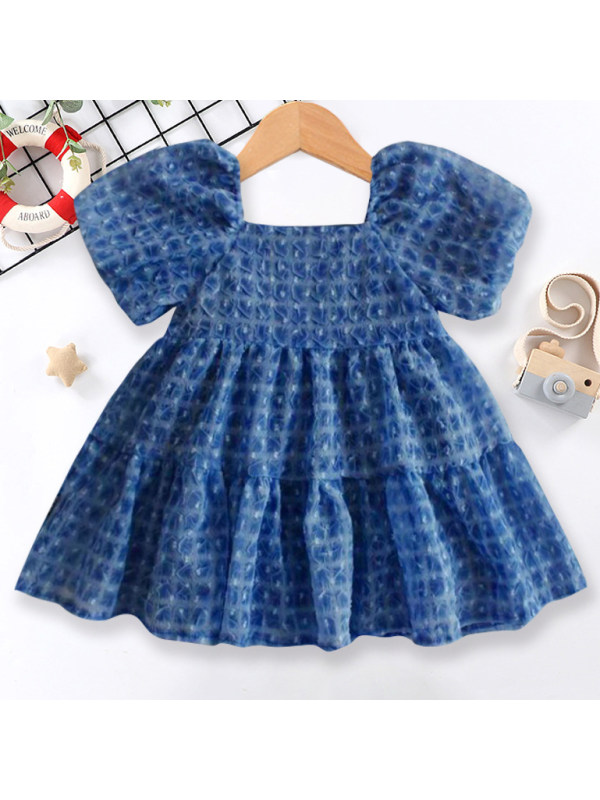 【18M-7Y】Sweet Square Neck Puff Sleeve Dress