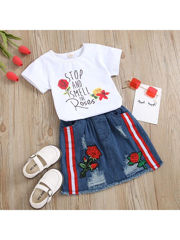 【18M-7Y】Girls Rose Print Letter Top Denim Skirt Suit