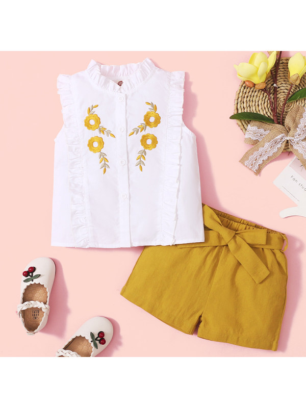 【18M-7Y】Girl Sweet Yellow Flower Embroidered Shirt Shorts Set