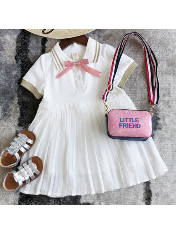 【18M-7Y】Sweet Pink Bow Pleated Dress