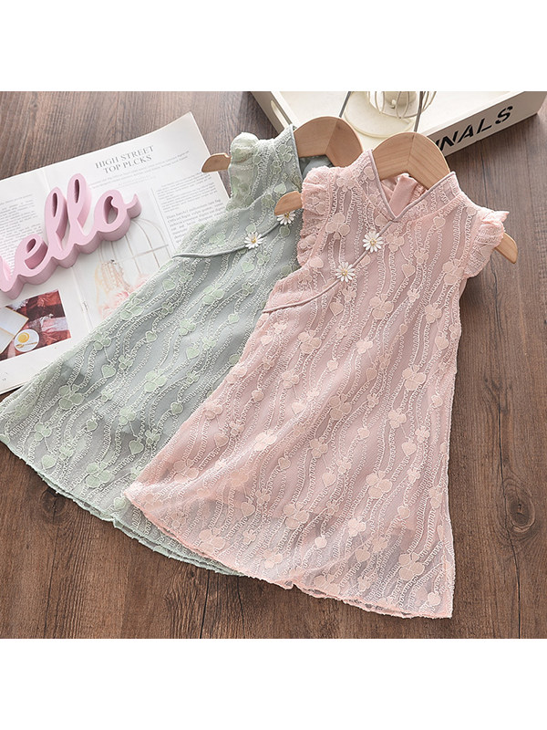 【18M-7Y】Girls Stand-up Collar Flying Sleeve Lace Small Fresh Dress