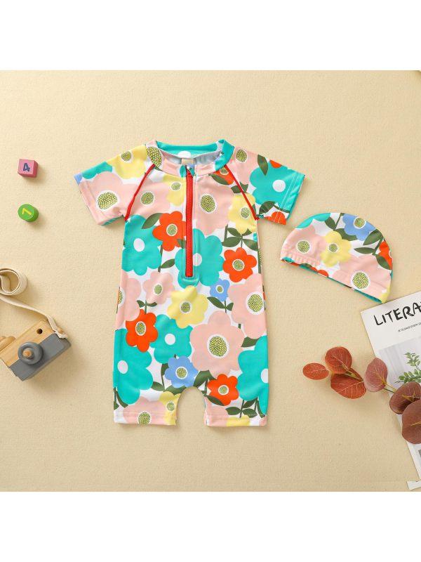【12M-5Y】Girls Flower Pattern Short-sleeved One-piece Swimsuit