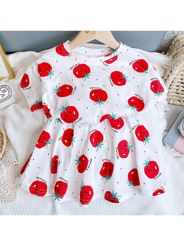 【2Y-9Y】Sweet Cartoon Fruit Print T-shirt Skirt Set