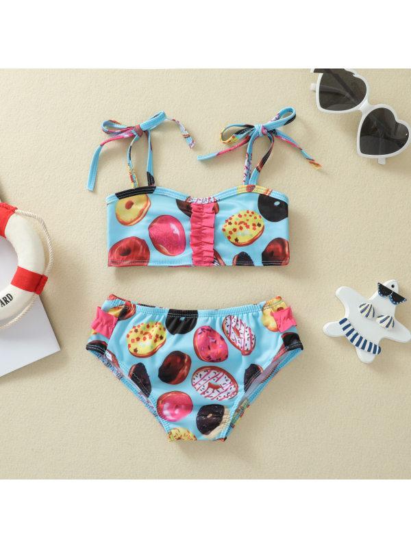 【6M-4Y】Girls Split Shoestring Strap Swimsuit