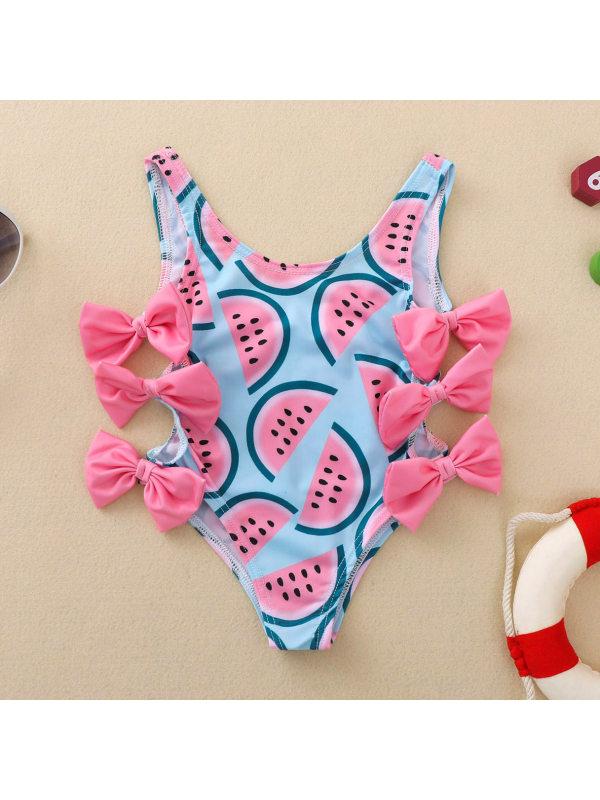 【6M-5Y】Cute Watermelon Print Bow Swimsuit