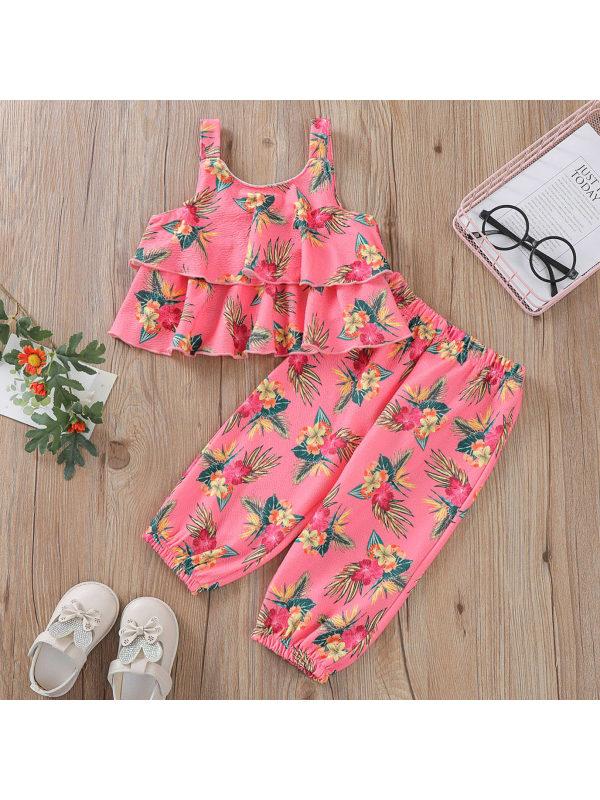 【2Y-9Y】Sweet Floral Print Suspender Top and Pants Set
