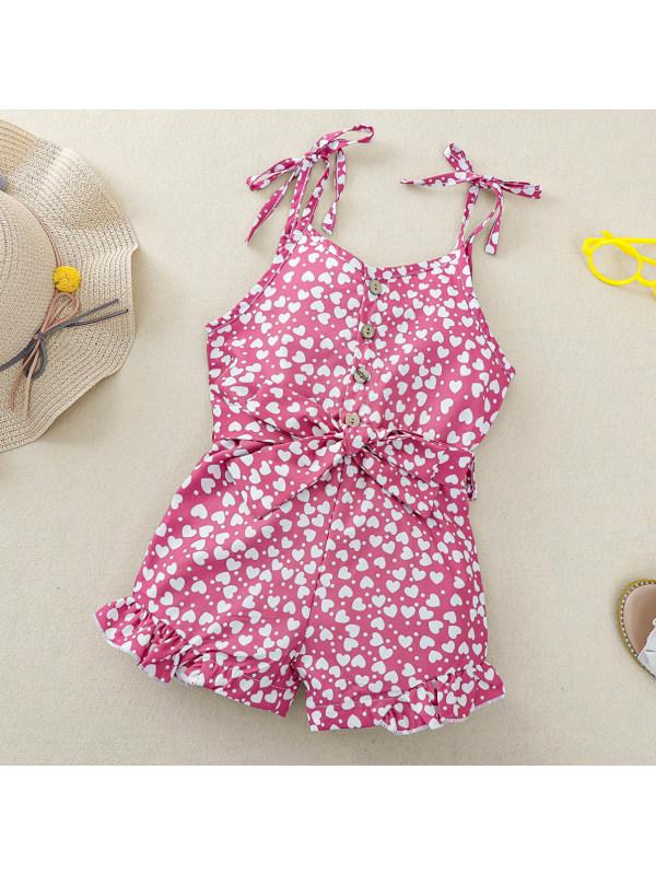 【2Y-9Y】Sweet Heart-shaped Polka Dot Print Sling Jumpsuit
