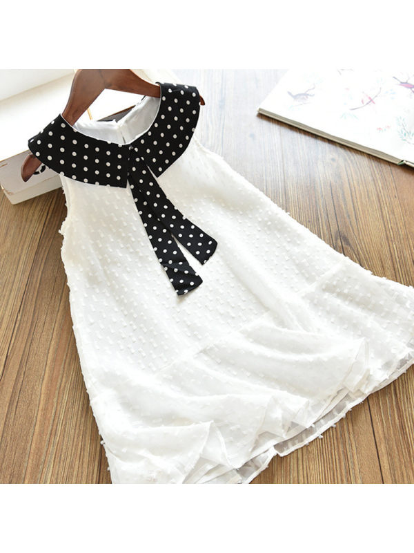 【18M-7Y】Girl Sweet White Chiffon Sleeveless Dress