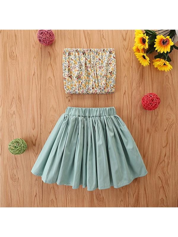 【18M-7Y】Girls' Broken Flower Small Tube Top T-shirt Pleated Skirt Set
