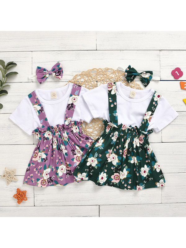 【6M-4Y】Girls T-shirt Floral Print Suspender Skirt Set With Headband