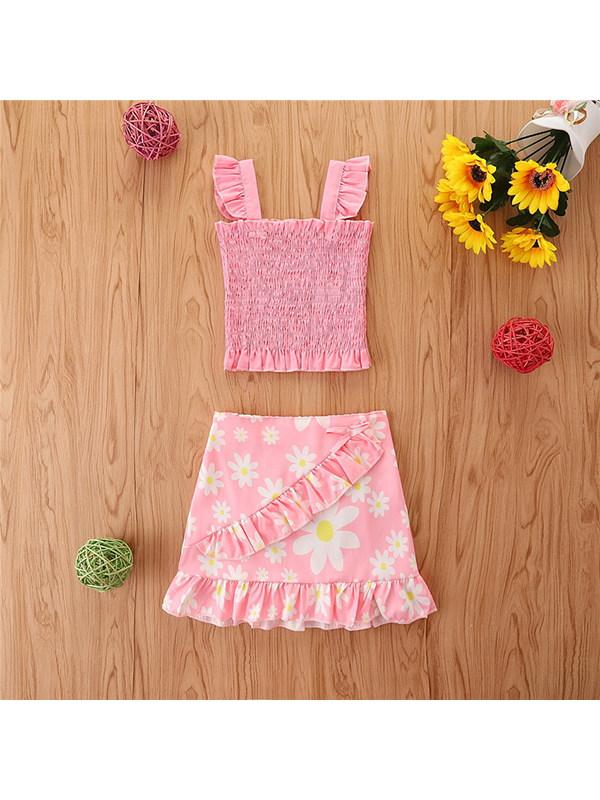 【18M-7Y】Girls Sleeveless Baby Shirt Ruffle Skirt Suit