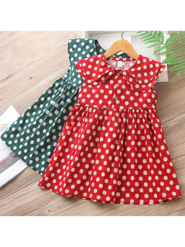 【18M-7Y】Girls Sweet Polka Dot Lapel Sleeveless Dress