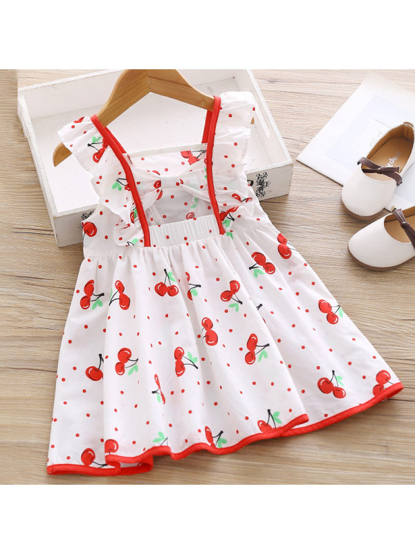 【18M-7Y】Girls Sweet Cherry Pattern Backless Dress