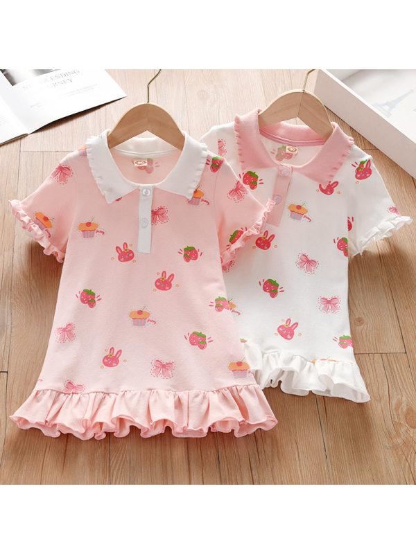 【18M-7Y】Girl Sweet Cartoon Pattern Lapel Sleeveless Dress