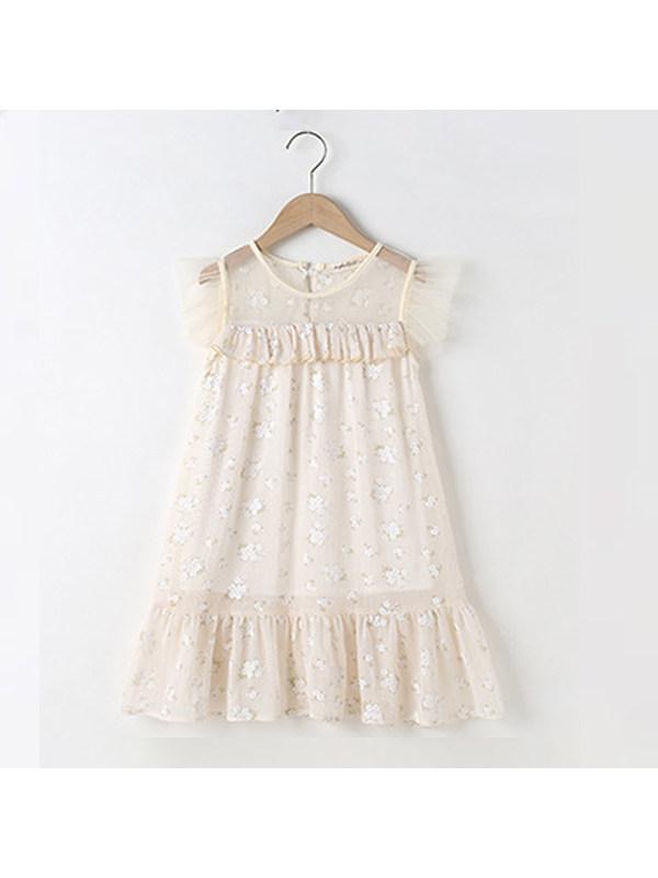 【2Y-11Y】Girls Floral Chiffon Dress