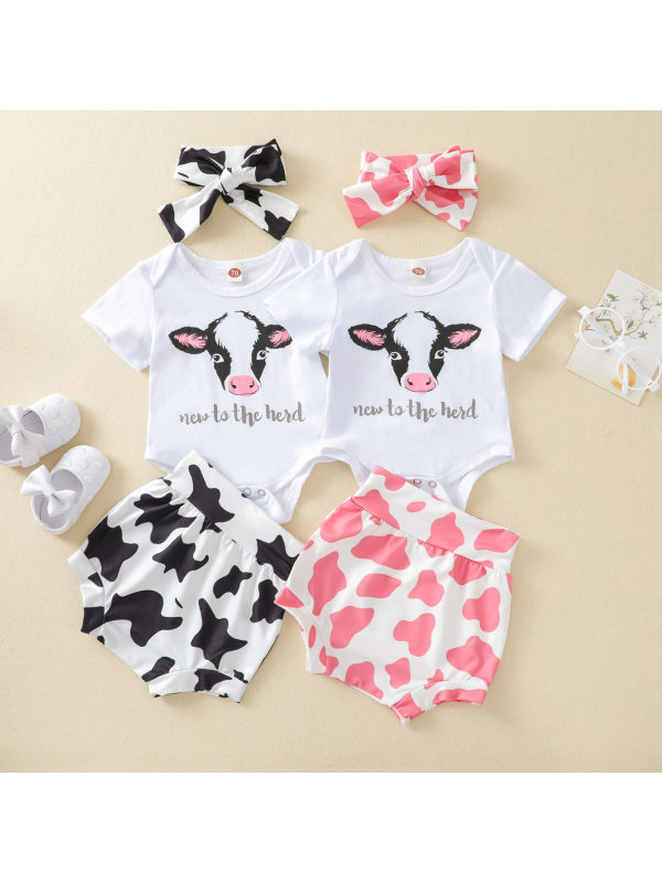 【6M-3Y】Baby Girl Cute Short-sleeved Romper Shorts Set with Headband
