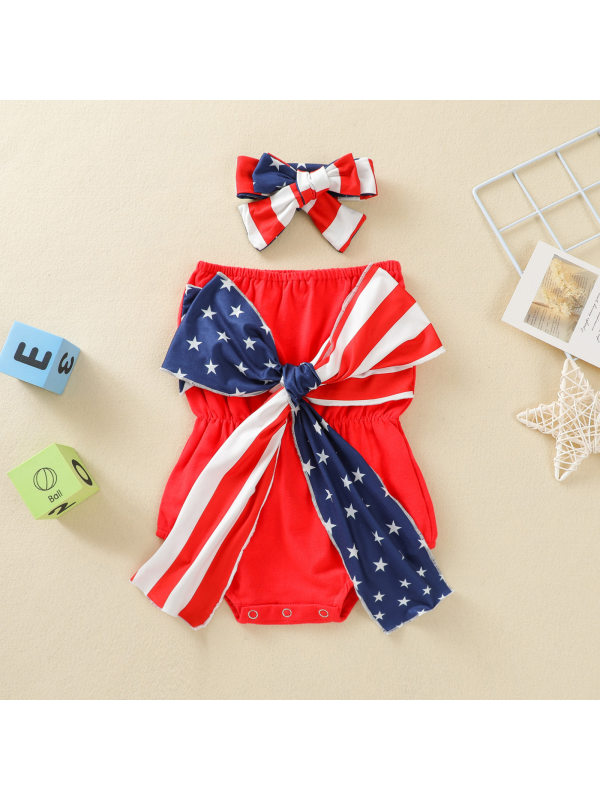 【6M-3Y】Baby Girl Independence Day Bow Romper with Headband