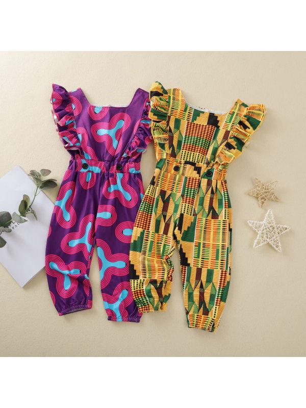 【12M-5Y】Girls Fashion Bohemian Print Sleeveless Jumpsuit