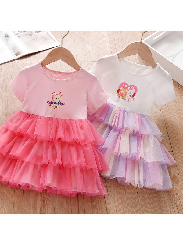 【18M-7Y】Girl Sweet Cartoon Pattern Mesh Short Sleeve Dress