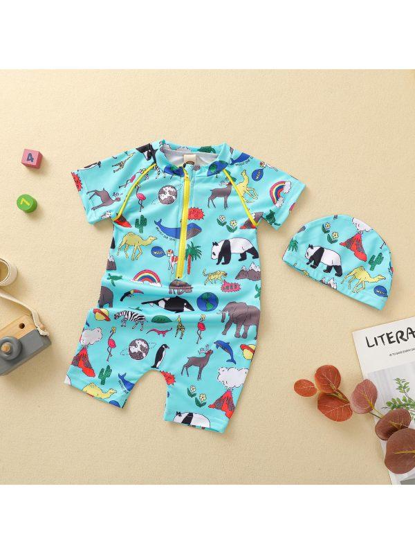 【12M-5Y】Boys Cartoon Animal Print Short-sleeved One-piece Swimsuit