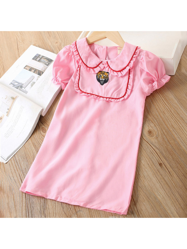 【18M-7Y】Girl Sweet Pink Tiger Embroidered Short Sleeve Dress