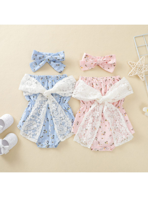 【6M-3Y】Baby Girls Fresh Sweet Floral Bows Romper with Headband