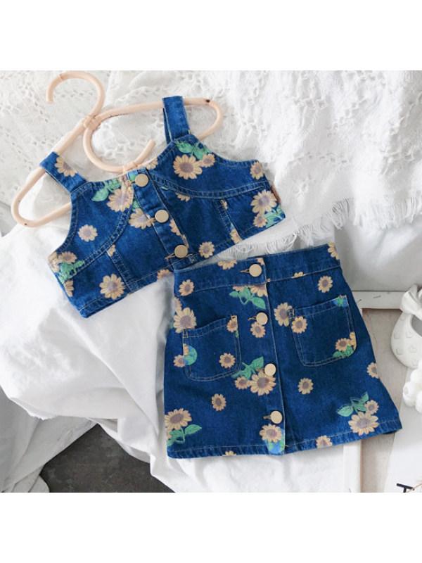 【2Y-11Y】Sweet Flower Print Blue Denim Set