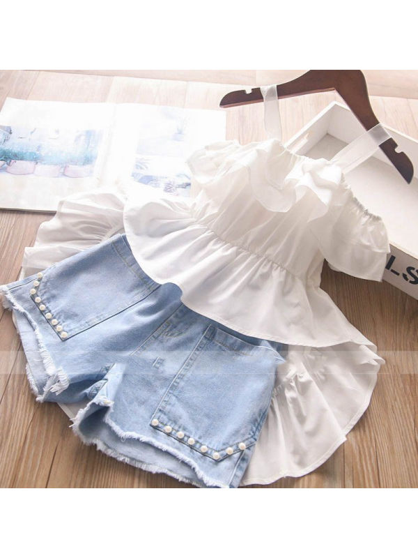 【2Y-9Y】Girls Sweet Camisole Dovetail Top Denim Shorts Suit - 3476