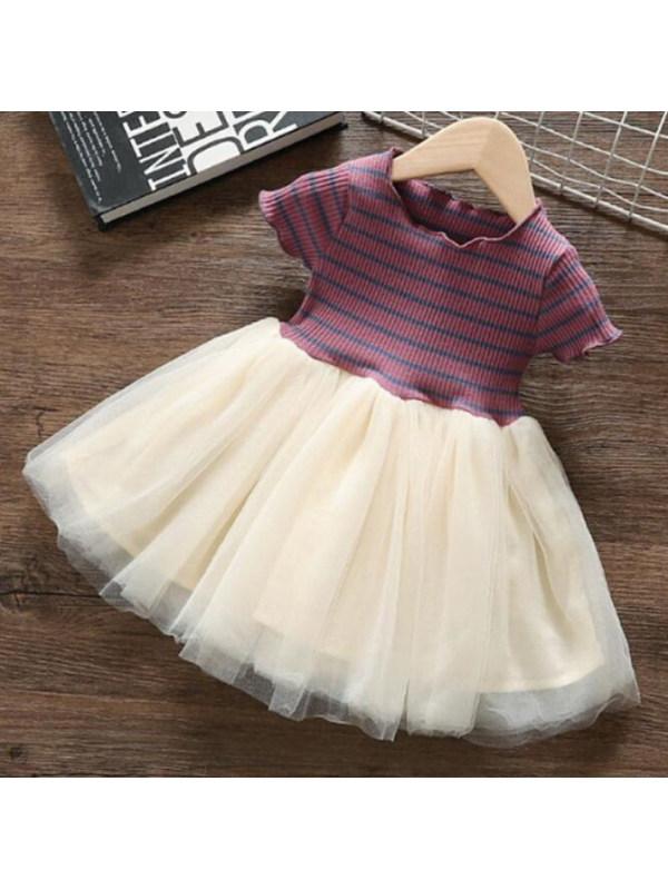 【18M-7Y】Sweet Striped Short-sleeved Mesh Dress
